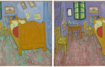 On the left, The Bedroom as seen in real life. On the right, a digital recolorized visualization.