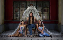 "Denise, Yefri, & Angie from ""Virgenes de la Puerta."""