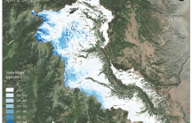 Snow water equivalent across the upper Conejos Watershed, located in south central Colorado and part of the headwaters for the Rio Grande, on April 6th, 2015. Image by Airborne Snow Observatory program, NASA/JPL, California Institute of Technology
