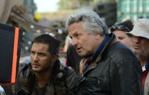 """George Miller with Tom Hardy on the set of """"Mad Max: Fury Road"""" (Jasin Boland)"""