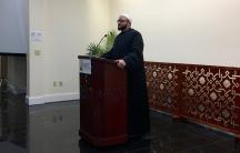 Shaykh Yasir Fahmy, senior imam at the Islamic Society of Boston Cultural Center, introduced Boston mayor Marty Walsh at a town hall meeting February 24, 2017.
