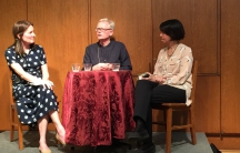 """Mary Kay Magistad (left),host of the Whose Century Is It? podcast, with Ian Johnson, author of """"The Souls of China,"""" and Jennifer Lin, author of """"Shanghai Faithful,"""" at The Mechanics Institute in San Francisco."""