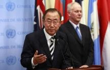 United Nations Secretary-General Ban Ki-moon speaks to the news media after briefing the Security Council on a new U.N. report on the use of chemical weapons in Syria. (Photo: REUTERS/Shannon Stapleton)