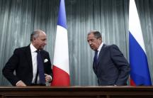 Russia's Foreign Minister Sergei Lavrov (R) and his French counterpart Laurent Fabius attend a news conference in Moscow on September 17, 2013. (Photo: REUTERS/Maxim Shemetov)