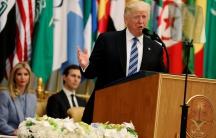 President Donald Trump before his speech to the Arab Islamic American Summit in Riyadh, Saudi Arabia, on May 21, 2017.
