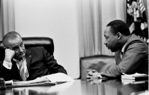 L-R: President Lyndon B. Johnson, Martin Luther King, Jr.
