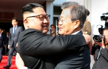 South Korean President Moon Jae-in bids farewell to North Korean leader Kim Jong-un