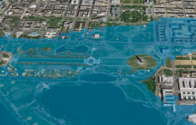 This rendering depicts an aerial view of a flooded National Mall area in Washington, DC, in 2100 if global emissions rise and a Category 3 hurricane hits the city. It was included in an October 2016 webinar by University of Colorado Boulder's Maria Caffre