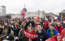 "Participants in the ""Rally for Life"" demonstration marched through Dublin, Ireland on March 10, 2018. They called for voters to say 'No' in a national referendum set for May 25, asking if Ireland should repeal the constitutional amendment banning abortion"