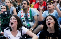 Fans watching the Germany-Mexico FIFA World Cup game at a fan fest in Saint Petersburg, Russia on June 17, 2018.