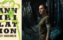 "The book cover and a movie still from ""Annihilation."""