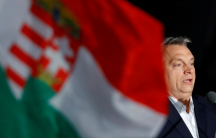 Hungarian Prime Minister Viktor Orban addresses supporters after the announcement of the partial results of parliamentary election in Budapest, Hungary, April 8, 2018.
