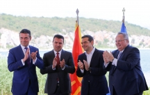 Greek Foreign Minister Nikos Kotzias, his Macedonian counterpart Nikola Dimitrov, Greek Prime Minister Alexis Tsipras and Macedonian Prime Minister Zoran Zaev