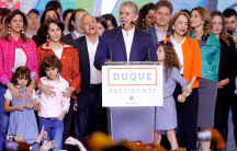 president-elect Ivan Duque in Colombia give a victory speech