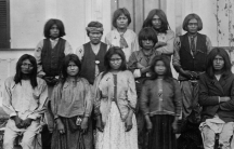 A group of Chiracahua Apaches on their first day at Carlisle Indian school, 1886.