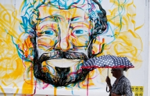 a colorful mural of a man's face