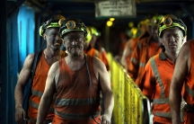 Miners leave after working the final shift at Kellingley Colliery