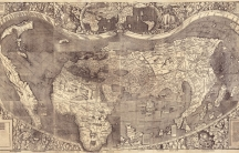 A old world map shows Africa at the center the map