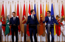 Austrian Chancellor Sebastian Kurz, Vice Chancellor Heinz-Christian Strache and Interior Minister Herbert Kickl attend a news conference in Vienna.