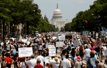 protesters march in washington, dc, to protest Trump's immigration policies