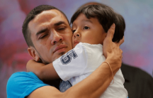 a man and his son are reunited after being separated at the border in the US