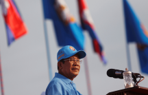 President of the Cambodian People's Party (CPP) and Cambodia's Prime Minister Hun Sen attends a campaign rally