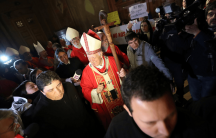chilean bishop in a cathedral amid protests