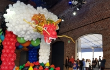 giant red balloon dragon