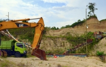 A sand mining operation in Rangkasbitung, Indonesia. A global building boom has driven soaring demand for sand for concrete and land reclamation, much of it illegal and damaging to ecosystems and communities.