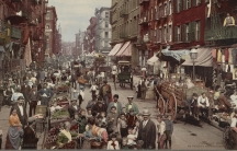 Street scene, colorized old photo, vendors, people in top hats, carriages