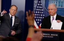 US Attorney General Jeff Sessions, on the right, joined White House Press Secretary Sean Spicer for the daily press briefing on Monday, March 27.