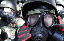korean students wear gas masks