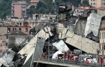 The collapsed Morandi Bridge is seen in the Italian port city of Genoa, Italy Aug. 14, 2018