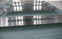 a sign for Cambridge Analytica