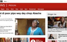 a screenshot of the BBC's pidgin language site