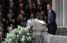 ex president barack obama gives a eulogy at john mccain's funeral