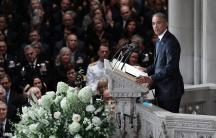 ex president barack obama gives a eulogy at john mccain's funeral