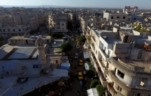 A street filled with cars in the rebel-held Idlib city, Syria, shown from above on June 8, 2017.