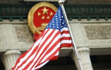 A US flag is seen during a welcoming ceremony in Beijing, China.