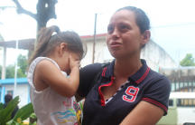 a nicarguan migrant woman and her daughter in mexico