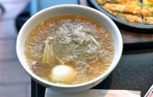 a bowl of Naengmyeon, cold noodles that originates from North Korea