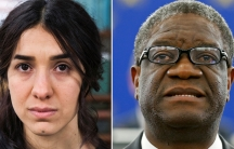 This is a combined composition with two portraits: Yazidi survivor Nadia Murad on the left and Denis Mukwege on the right.