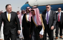 US Secretary of State Mike Pompeo is shown walking with Saudi Foreign Minister Adel al-Jubeir on the tarmac after arriving in Riyadh, Saudi Arabia,.