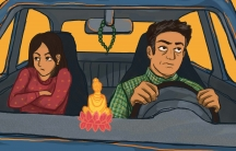 Illustration of young woman sitting in car, arms folded in despondent pose, while older man is driving, with prayer beads hanging from rearview mirror and Buddha figurine on dash