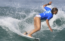 close up of Maya Gabeira surfing