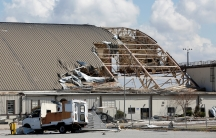 hangar with roof damaged