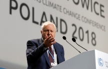 Attenborough speaks at the podium in Poland's climate change talks.