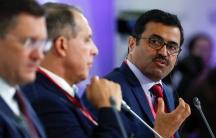 Qatar's Minister of Energy Mohammed al-Sada speaks on a panel