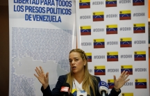 """A blonde Lilian Tintori, speaks during a meeting with a banner in the background that reads: """"Freedom for all the political prisoners in Venezuela."""""""