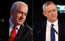 Two up close portraits of white men with short hair cuts competing for prime minister.
